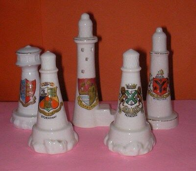 Crested China Lighthouses Stornoway,Minster,Shoreham,Scarborough Crests +