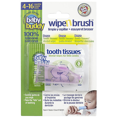 Baby Wipe and Brush Tooth Tissues - Pink - Cleans Soothes Teething Gums