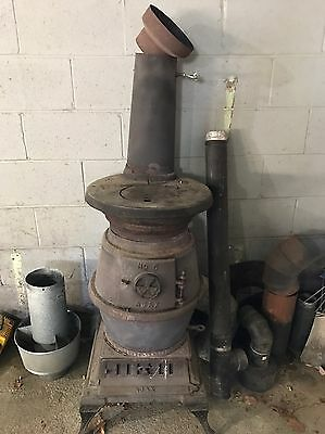 Antique Early 1900s Cast Iron Wood / Coal Burning Pot Belly Stove Ajax No. 5