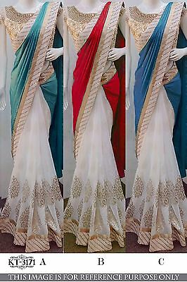Indian Designer Sari Thread Work Bollywood Sari Wedding Party Wear Sari