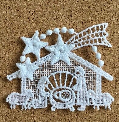 Christmas, Nativity - sew-on lace motif/appliqué/patch/craft/card making