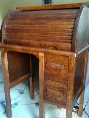Rare Antique Child's Roll Top Desk