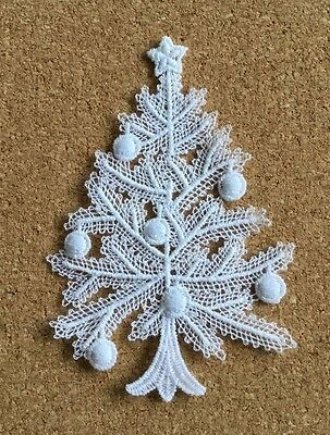 Christmas, Tree & Baubles - sew-on lace motif/appliqué/patch/craft/card making