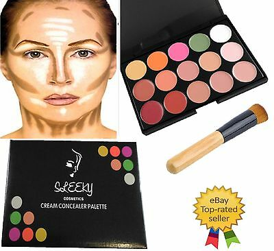 15 Colors Contour Face Cream Concealer Make up Palette with Wooden Brush CL3