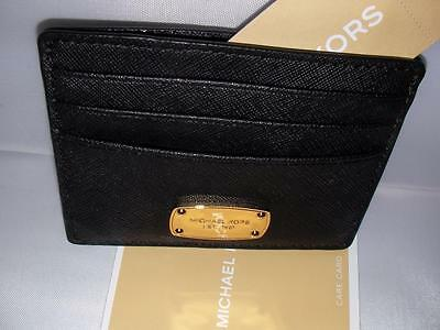 New Michael Kors Ladies Leather Card Case Holder Mini Wallet Black Color