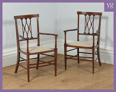 Antique Pair of Edwardian Neoclassical Inlaid Mahogany Salon Chairs / Armchairs