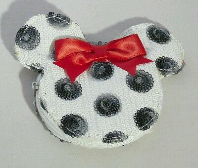 DISNEY MINNIE MOUSE White Black Polka Dot Sequin w Bow Coin Purse Wallet Gift
