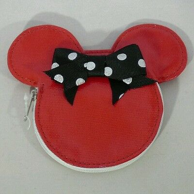 "DISNEY MINNIE MOUSE Red Black Bow 5""x4"" Zipper Coin Purse Wallet Gift"