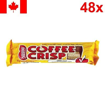 48x Nestle Coffee Crisp Full Size Chocolate Wafer Candy Bars * Canada Canadian *