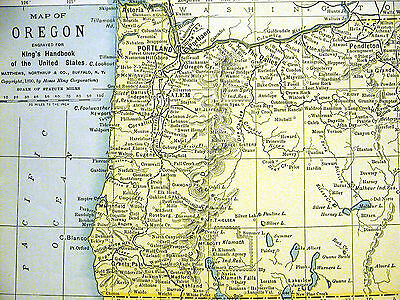 Map of OREGON from the King's Handbook of the United States 1892 Matted