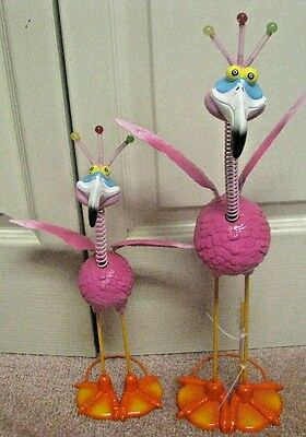 2 Pink Flamingos Goofy Faces And Springy Wings & Head Exhart Baby Beeks