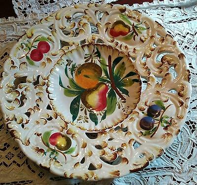Vintage Antonio Borsato Italy reticulated edge plate painted art pottery plate