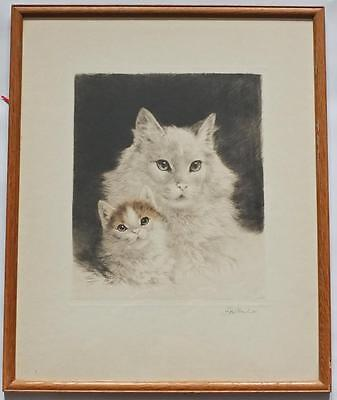 FRAMED GLAZED SIGNED ETCHING c1950's KURT MEYER EBERHARDT 'Mother Cat & Kitten'