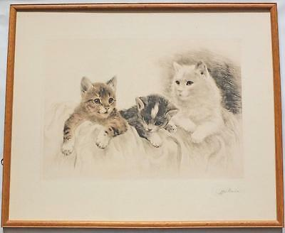 LARGE FRAMED SIGNED ETCHING c1950's KURT MEYER EBERHARDT 'Little Kittens'
