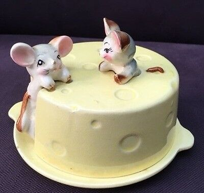 Vintage Swiss Cheese Covered Plate/ Cheese Dish with Mice