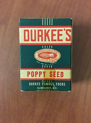 Vintage Durkee's Green Spice Box Poppy Seed 3 Oz