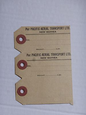LUGGAGE LABEL  1930's PACIFIC AERIAL TRANSPORT LTD NEW GUINEA  3 PART LABEL