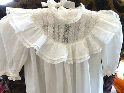 Antique Vintage White Baby Christening/Baptismal  Dress / Gown + Lacy Slip