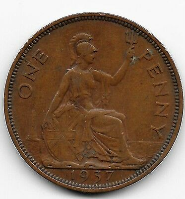 1937 Great Britain/ Uk Large One Penny Copper Coin!! George-V