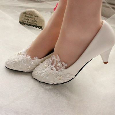 Lace Pearl Bride Wedding Pumps Ankle Beading Bride Bridesmaid Shoes UK Size 2-8