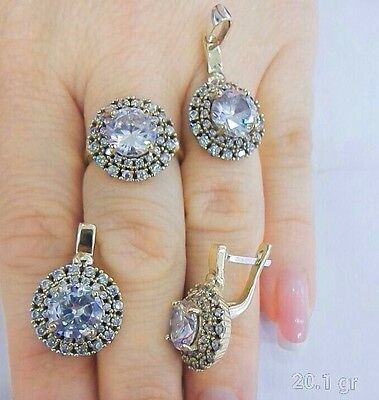 Turkish Handmade 925 Sterling Silver Zircon Earring Set -  All size available
