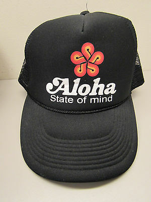 Vintage Hawaii Aloha State of Mind Adjustable Black Snap Back Mesh Truckers Hat