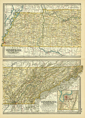 1899 Century Tennessee Western Eastern Part Original Antique Color Map