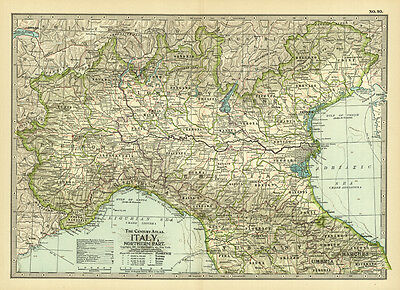 1899 Century Italy Northern Part Original Antique Color Map