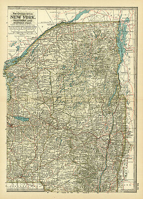 1899 Century Northern Eastern Part New York Original Antique Color Map