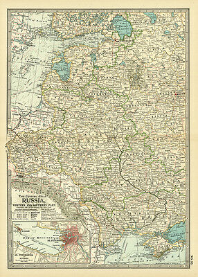 1899 Century Western Russia Southern St. Petersburg Original Antique Color Map