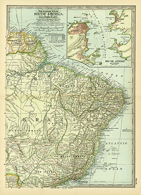 1899 Century Eastern Part South America Original Antique Color Map