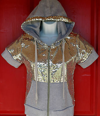 Girls Sequin Hoodie JUICY COUTURE Short Sleeve~size M 10-12