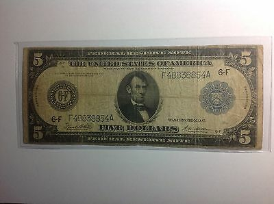 1914 $5 Federal Reserve Note~U.S.Large Currency~ circulated