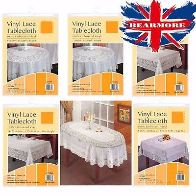 Oval & Rectangle Vinyl Pvc White Embossed Lace Tablecloth Table Cover