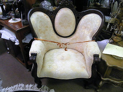 Wood Trim Cream Colored Chair Carved Top