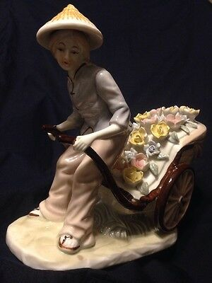 Lladro Style Porcelain Figurine Asian Lady Cart Full Of Flowers