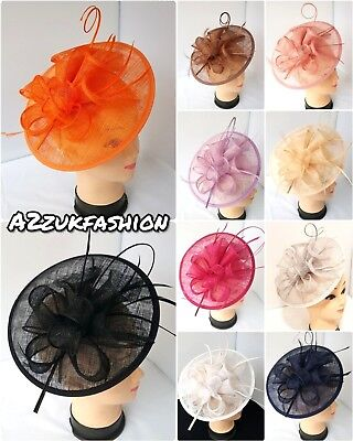Large 25cm Headband and Clip Hat Fascinator Weddings Ladies Day Race Royal Ascot