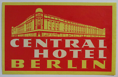 Vintage Central Hotel Luggage Label - Berlin - Bright Yellow and Red Color