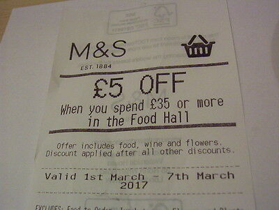 M&s £5 Off Voucher Spend £35 1- 7 March Food Hall Wine Flowers Marks Spencer