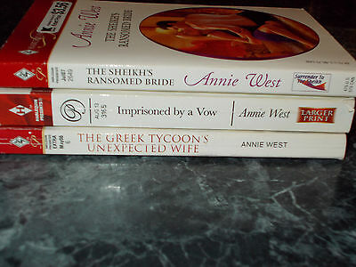 Harlequin Presents Anne West lot of 3 contemporary romance paperback