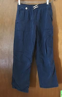 Boys Gap Size L 10 Navy Blue Draw String Cargo Pants, Lined