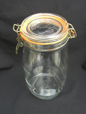 Vintage Triomphe France 1.5L Glass Jar Canister w/Hinged Metal Bale Lid