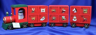 Wooden Train Advent Calendar With 3 Carriages 24 Drawers