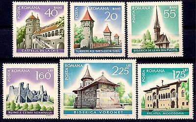 Romania 1967 Tourism Buildings History Castle Monastery Palace Church Ruins MNH