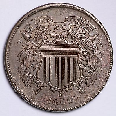 1864 Two Cent Penny CHOICE UNC FREE SHIPPING E217 AHM