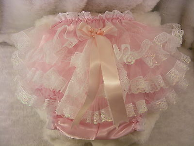 Sissy Adult Baby Pink Satin  Frilly Bum Diaper Cover Panties  Waterproof Option