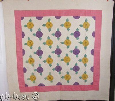 """Beautiful 1930s Pansy Applique Vintage QUILT Purple Yellow Pink 86 x 84"""""""