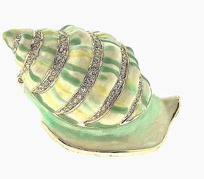 Nautilus Shell Jewelry Trinket Box Crystal Bejeweled Hinged Enamel Collectible