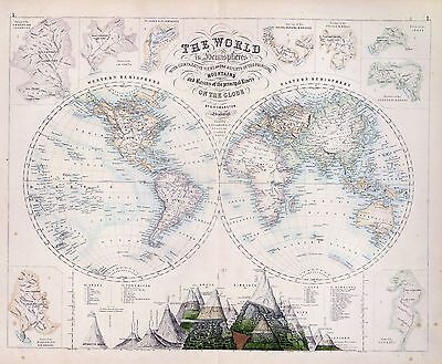 76 antique map ROYAL ILLUSTRATED ATLAS OF MODERN GEOGRAPHY highly decorative A15