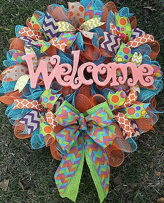 25x28 Deco Mesh and Multi Textured Ribbon Welcome Wreath